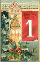 WISHING YOU A HAPPY NEW YEAR  inset bell in window, large January 1 to right in red