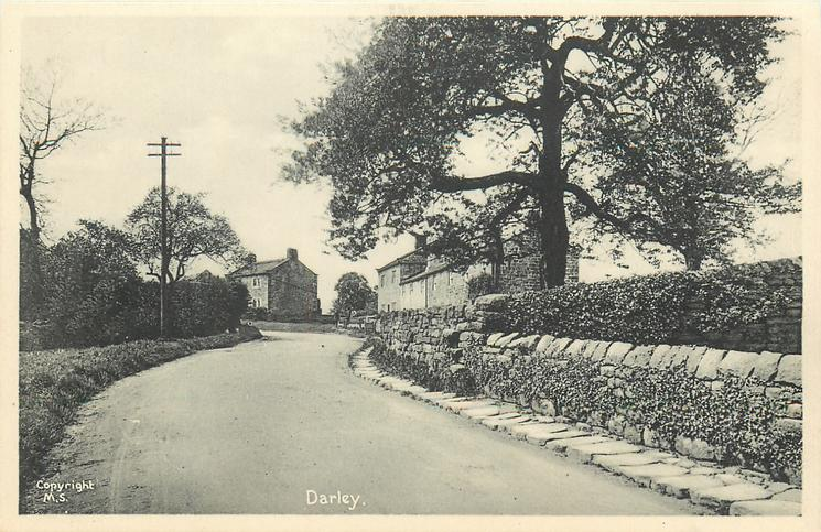 DARLEY  stone wall right of road