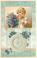 WISHING YOU A HAPPY NEW YEAR  inset boy with violets above clock