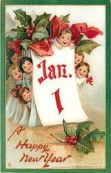 seven children hide behind calendar showing JAN. 1