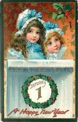 two girls in blue above JANUARY 1 in wreath