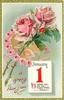 bunch & horseshoe of pink roses, JANUARY 1 calendar page insc. NOW STAND YOU ON THE TOP OF HAPPY HOURS
