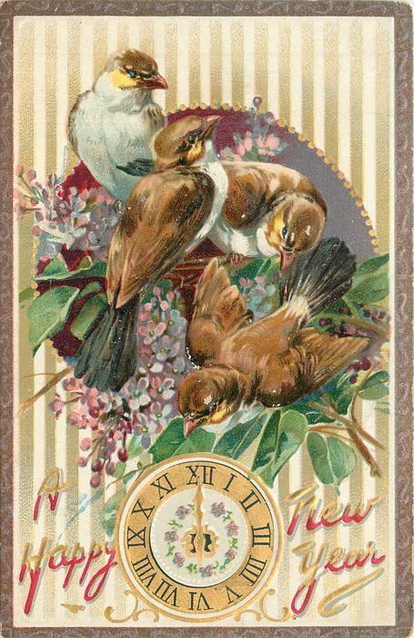 four white-breasted sparrows in lilac above clock