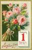 pink moss roses above JANUARY 1 calendar page insc. RING OUT THE OLD, RING IN THE NEW