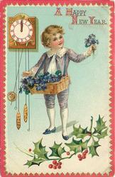 boy in purple has a basket of violets slung on ribbon around his neck clock left