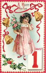 girl in pink holds potted pink rose, JANUARY 1 tablet below right, bells above