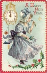 girl in violet dress faces right smelling flower held in her left hand, clock upper left