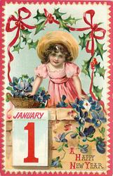 girl leanng on wall, basket of violets, JANUARY 1 tablet below left, holly above