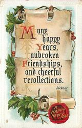 MANY HAPPY YEARS UNBROKEN FRIENDSHIPS AND CHEERFUL RECOLLECTIONS