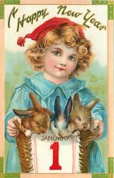 boy in blue holds basket, adorned with JANUARY 1 banner, containing three rabbits