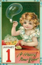 girl holds pipe with bubble, JANUARY 1 lower left