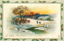snow scene,  two people left of water, one digs in snow, house behind, trees left