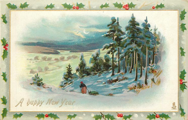 snow scene, woman on hill pulls sled, valley left, trees right