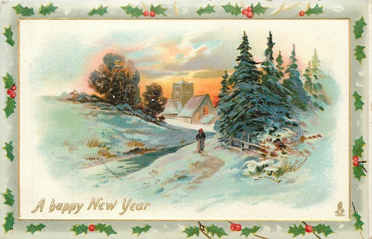 snow scene, woman walks towards church, fence & pines right