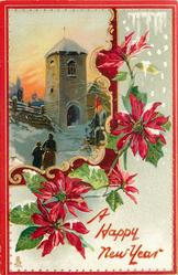 poinsettias around inset upper left of  two people going to church in the snow