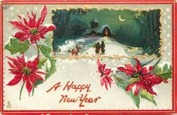 poinsettias around rectangular inset of two people walking in snow at night toward lighted church