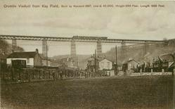 CRUMLIN VIADUCT FROM KEY FIELD.  BUILT BY KENNARD 1857, COST  62,OOO, HEIGHT 200 FEET, LENGTH 1658 FEET