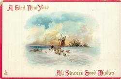 A GLAD NEW YEAR  ALL SINCERE GOOD WISHES  sheep & windmill