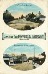 GREETINGS FROM DOWNFIELD & BALDOVAN, 2 insets ST. MARY'S ROAD DOWNFIELD and DOWNFIELD FROM THE CAR TERMINUS