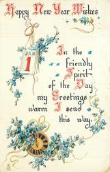HAPPY NEW YEAR WISHES  IN THE FRIENDLY SPRIT OF THE DAY MY GREETINGS WARM I SEND THIS  WAY