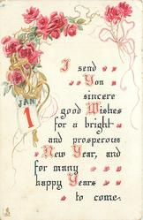 I SEND YOU SINCERE GOOD WISHES FOR A BRIGHT AND PROSPEROUS NEW YEAR, AND FOR MANY YEARS TO COME