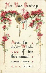 NEW YEAR GREETINGS  AGAIN THE SILENT WHEELS OF TIME THEIR ANNUAL ROUND HAVE DRIVEN