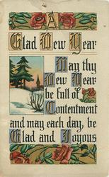 A GLAD NEW YEAR  MAY THY NEW YEAR BE FULL OF CONTENTMENT AND MAY EACH DAY BE GLAD AND JOYOUS