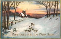 ALL HAPPINESS FOR THE NEW YEAR  shepherd drives flock forward along snowy road, church left