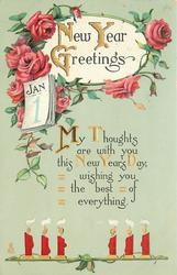 NEW YEAR GREETINGS  MY THOUGHTS ARE WITH YOU THIS NEW YEAR'S DAY, WISHING YOU THE BEST OF EVERYTHING