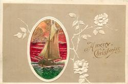 A MERRY CHRISTMAS oval inset of sailing ship on green ocean, red sky, embossed roses in grey surround