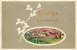 CHRISTMAS GREETING   oval inset of of river passing by house, two trees right, embossed ivy  in grey surround