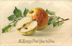 A HAPPY NEW YEAR TO YOU  apples, one cut in half