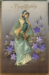 A MERRY CHRISTMAS  applique of elegantly dressed lady surrounded by violet insets