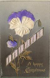 A HAPPY CHRISTMAS  embossed inserts of pansies & purple ribbon