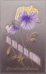 CHRISTMAS WISHES  embossed inserts of pansies & purple ribbon