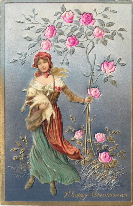 A HAPPY CHRISTMAS  applique of girl carrying a lamb to left of rose tree & rose inserts