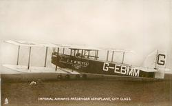 IMPERIAL AIRWAYS PASSENGER AEROPLANE  CITY CLASS  prominent G-EBMM aircraft on airfield, facing left