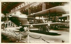 AN IMPERIAL AIRWAYS PASSENGER AEROPLANE  in exposition bay number not visible, in the Air Ministry Exhibit in the 1925 Wembley Exhibition