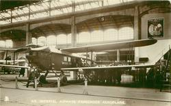 AN IMPERIAL AIRWAYS PASSENGER AEROPLANE  in BAY 13  in exposition in the Air Ministry exhibit at the 1925 Wembley Exhibition