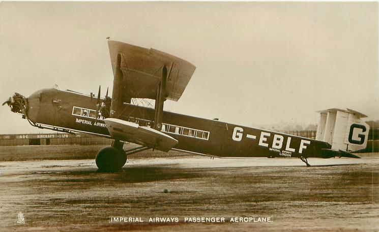 IMPERIAL AIRWAYS PASSENGER AEROPLANE  prominent G-EBLF aircraft on airfield, long nose with propeller, facing left, 3 propellers