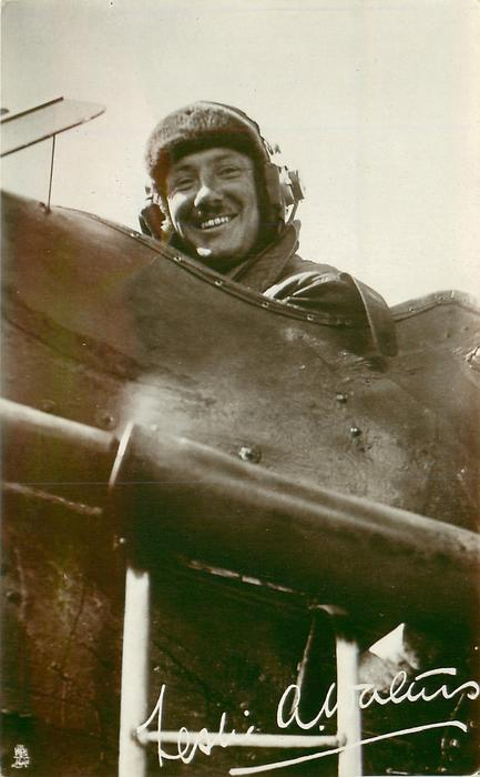 pilot in cockpit. LESLIE A. WALTERS (from autograph)