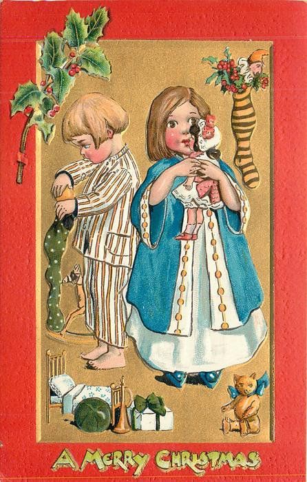 A MERRY CHRISTMAS  at bottom, girl right plays with doll, boy left stuffs stocking, teddy lower right