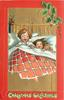 CHRISTMAS GREETINGS  at bottom, boy and girl under coves in bed, girl has doll
