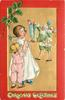 CHRISTMAS GREETINGS  at bottom, green robed Santa fills stockings, two children watch from left