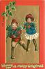 WISHING YOU A MERRY CHRISTMAS   boy in red and girl in blue with white skirt carry holly