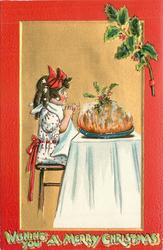 WISHING YOU A MERRY CHRISTMAS   girl in white/red dot dress amazed at pudding on table