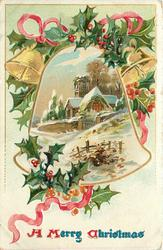A MERRY CHRISTMAS  bell on either side of bell-shaped inset of snowy church