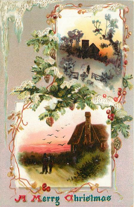 A MERRY CHRISTMAS  two insets, in lower two people near house with many birds in flight,  in upper one person, sheep and church