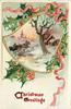 CHRISTMAS GREETINGS  bell shaped inset with horse drawn, tree and house
