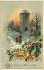 CHRISTMAS GREETINGS  woman and boy walk toward church, two bells & holly below